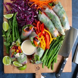 Chicken and Veggie Spring Rolls and a delicious tahini dipping sauce + A ZWILLING Giveaway for Mother's Day! Eat the rainbow! Everyone needs a meat and vegetable cleaver! Check out the giveaway!