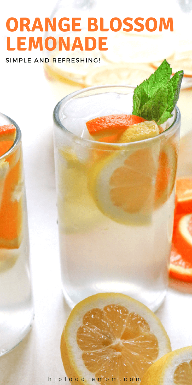 Orange Blossom Lemonade made with freshly squeezed lemon juice, simple syrup and Nielsen-Massey's Orange Blossom Water. So delicious and SO refreshing! #orangeblossomlemonade #lemonade #summer #drinks #lemonadestand #orangeblossom