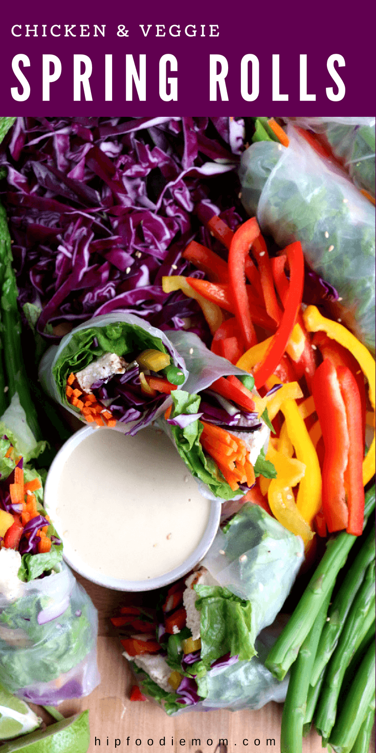 Chicken and Veggie Spring Rolls and a delicious tahini dipping sauce! Eat the rainbow! #springrolls #veggies #healthy #appetizer #chickenspringrolls #springrollsrecipe #glutenfree