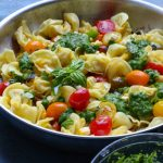 Summer Tortellini Pasta Salad + A Giveaway!! Pan fried five cheese tortellini cooked with cherry tomatoes, corn and a spinach pesto! So good! Plus, enter for a chance to win a Demeyere Industry5 Skillet!