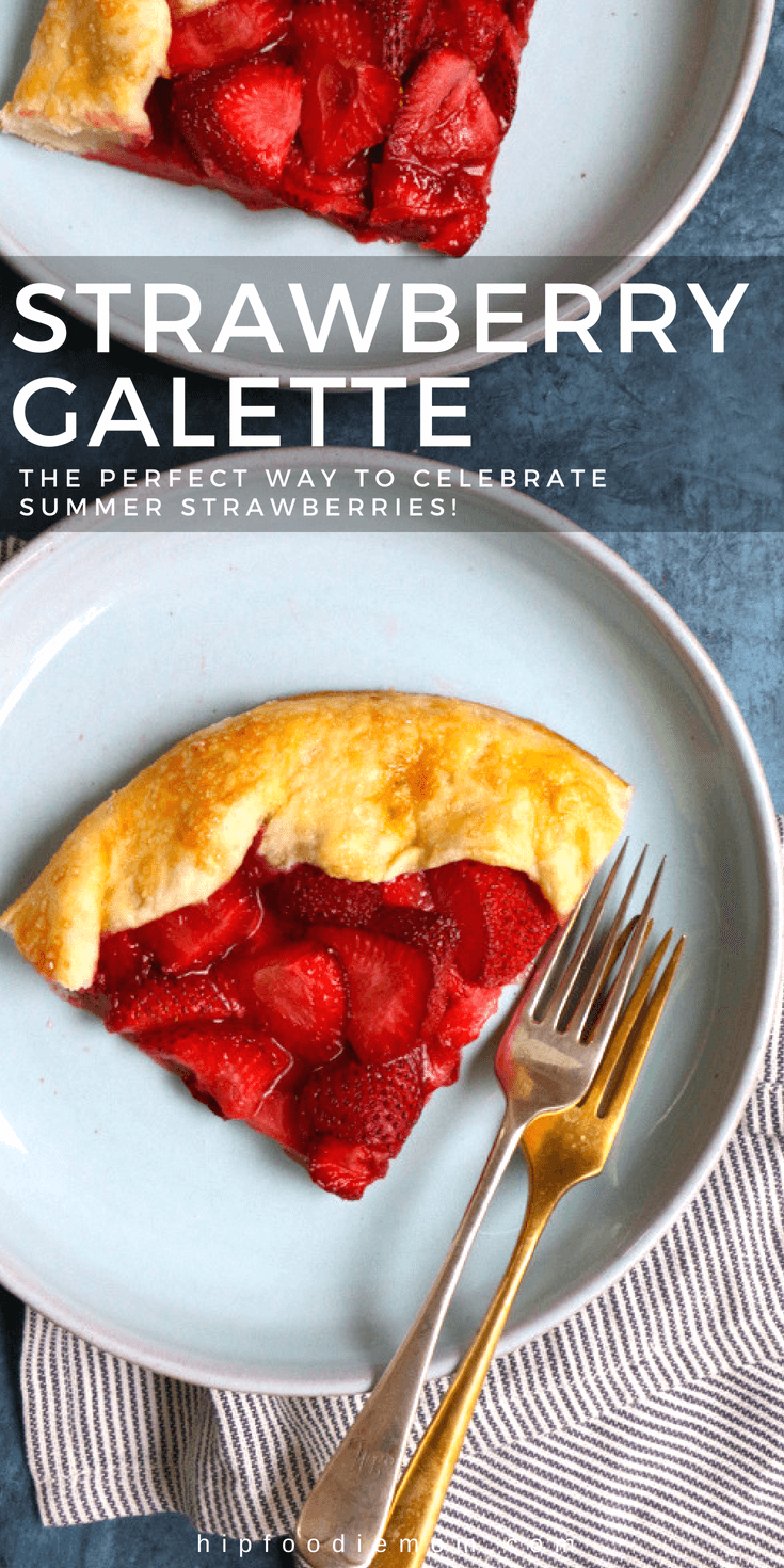 Strawberry Galette! Celebrate summer strawberries with this delicious strawberry galette! Fresh California strawberries, lemon zest, cinnamon and sea salt all blended together and wrapped in a homemade pastry dough. This strawberry galette is incredible and so delicious! #strawberrygalette #galette #strawberries #dessert #summerdessert #berries #fruitdessert
