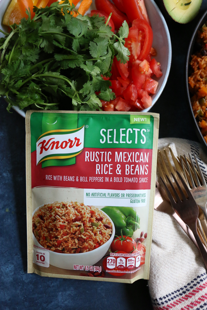 Rustic Mexican Rice & Beans Skillet Dinner! Change up Taco Tuesdays with this quick, easy and delicious dinner! Your family will love it!