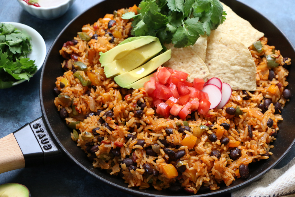 Rustic Mexican Rice & Beans Skillet Dinner! Change up Taco Tuesday with this quick, easy and delicious dinner! Your family will love it!