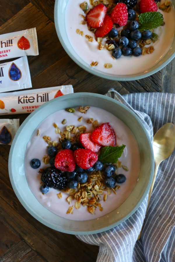 Mornings with Kite Hill Yogurt! Kite Hill almond milk yogurt with granola and fresh berries and honey! My kids love this for breakfast or as an after school snack!