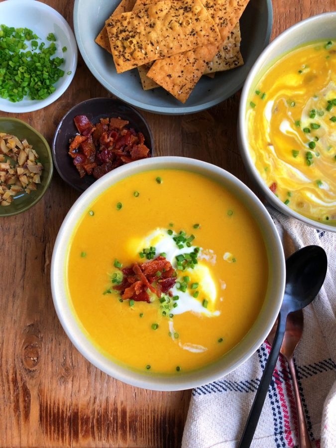 Butternut Squash and Apple Soup, made in a pressure cooker! So rich in flavor and packed with goodness, you won't believe how easy this is to make and so delicious!