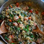 Asiago Cheese and Cracked Black Pepper Rice with Ham. Packed with mushrooms, carrots, kale and ham, this dish is so delicious!!