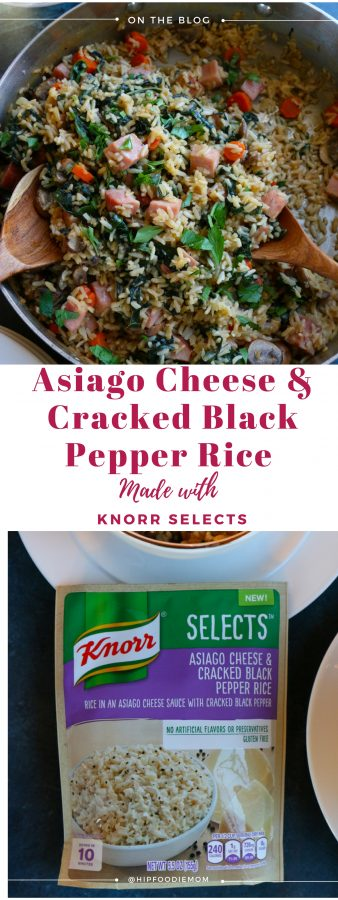 Asiago Cheese and Cracked Black Pepper Rice with Ham. Packed with mushrooms, carrots, kale and ham, this dish is so delicious and the perfect way to revamp your holiday leftovers!