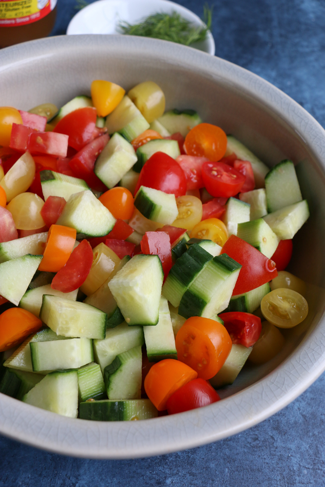 Super Simple Cucumber Tomato Salad! When you have fresh, quality ingredients, you don't need to add much to whip up a delicious and fresh summer salad!