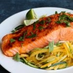 Baked Salmon with Spiralized Veggies (VIDEO!)