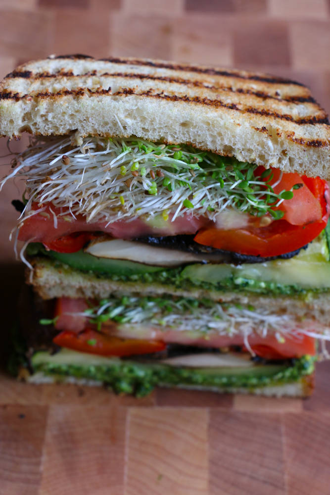Grilled Veggie and Pesto Sandwich! One of my favorite things to do in the summer is grill veggies! I just made the most delicious Grilled Veggie and Spinach Pesto sandwich! It's so good and full of flavor! My summer just got better! #ad