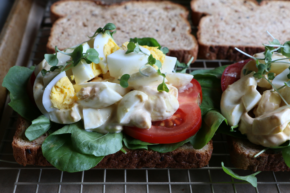 Egg Salad sandwich made with Brownberry Organic 22 Grains & Seeds Bread!! This bread has flaxseed, chia and ancient grains, we love it!