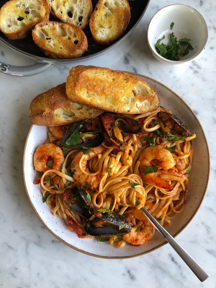 Seafood Pasta with Linguine Shrimp and Mussels. If there's one thing my family will always eat, it's seafood pasta. This one takes a little more time but it's so wonderfully delicious!