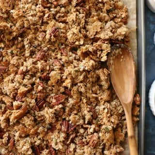 Gluten Free Granola!! Made with gluten free rolled oats, pecans, pepitas, dried fruit, coconut oil and naturally sweetened with some honey.