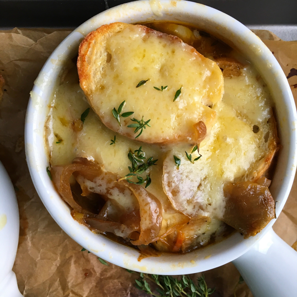 French onion soup. So rich, comforting and delicious. Don't skip the French bread baguette with lots of gruyere cheese on top.