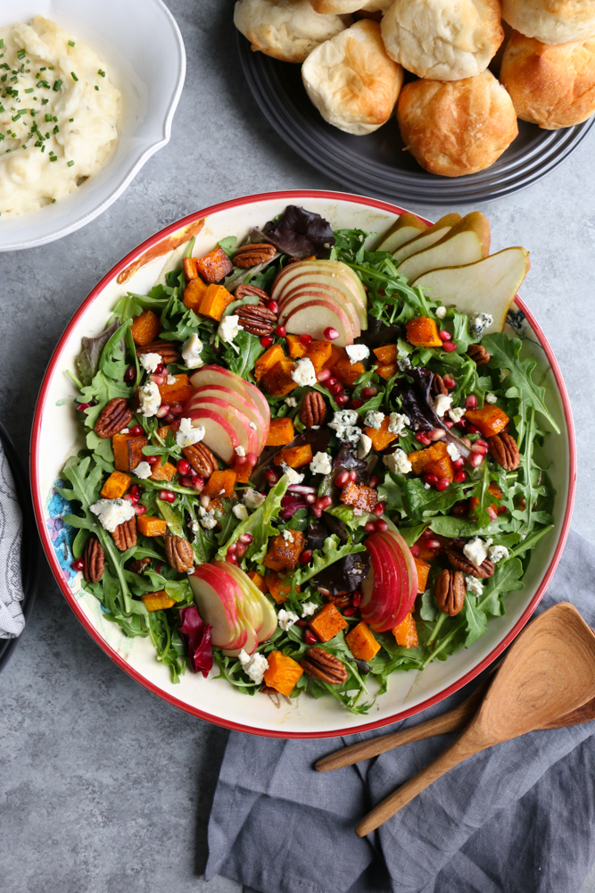 Autumn Salad With Seasoned Roasted Butternut Squash Hip Foodie Mom