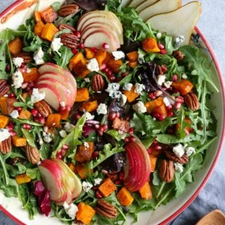 Autumn Salad with Seasoned Roasted Butternut Squash! Fresh mixed greens and arugula, apples, pears and the seasoned roasted butternut squash!