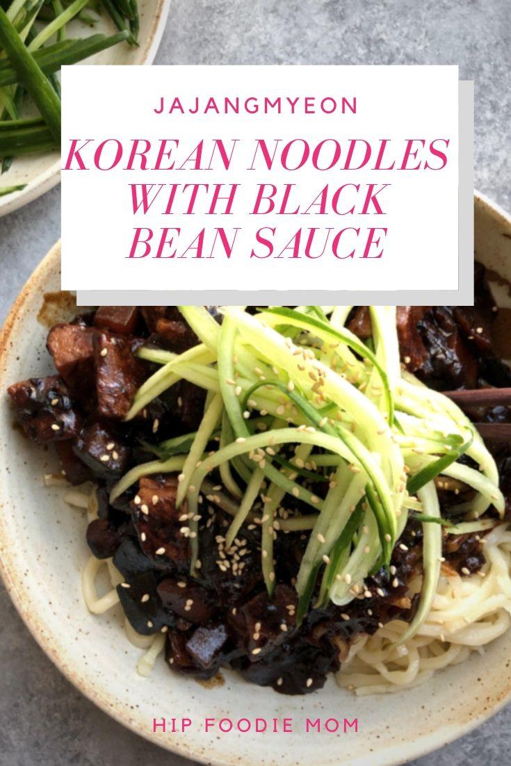 Jajangmyeon korean noodles with black bean sauce
