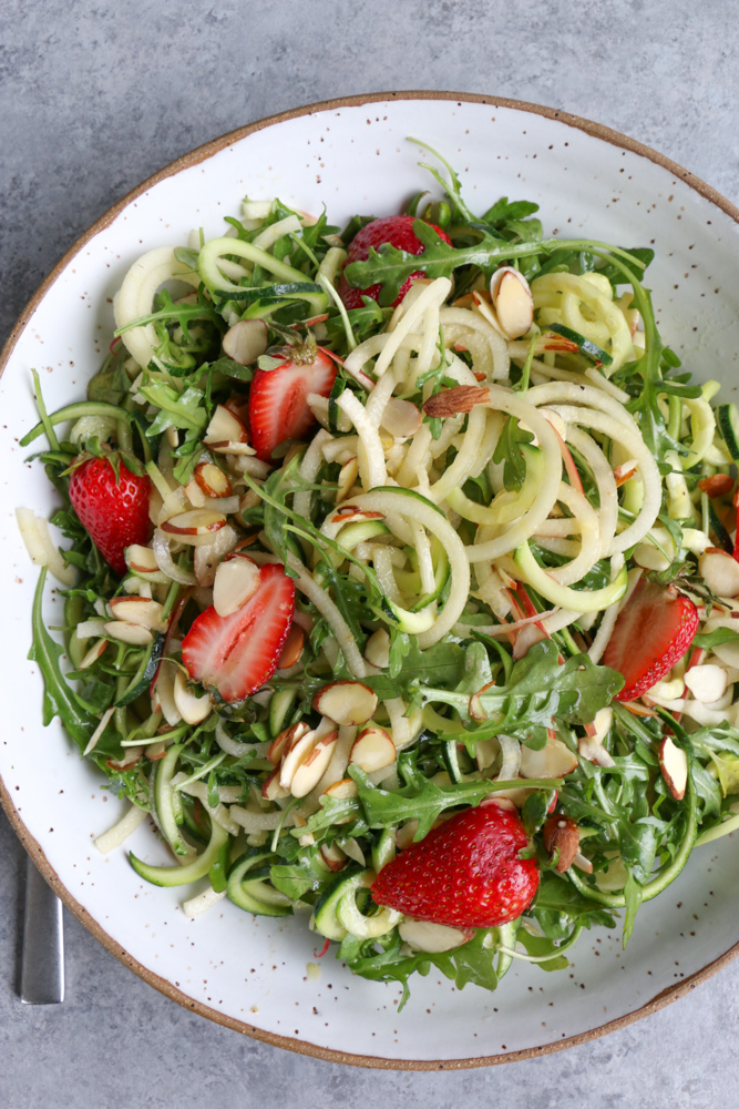 Quick Summer No Cook Recipes + A Video! The easiest and most delicious simple fruit salad and spiralized zucchini and apple salad!