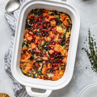 Butternut Squash Casserole! Roasted butternut squash, leeks, kale, Parmesan cheese and more, you've got to try this!